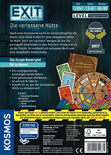 KOSMOS 692681 - EXIT - Das Spiel - Die verlassene Hütte, Kennerspiel des Jahres 2017, Level: Fortgeschrittene, Escape Room Spiel - 2