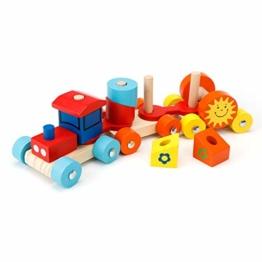 EXTSUD Kinder Holz Zug Steckspiel Stapelspiel Montessori Spielzeug mit Geschenkbox Holz Einsenbahn Bunte Farben und Formen Blöcke Lernspielzeug Geschenk für Kinder Kleinkinder Weihnachten Neujahr - 1