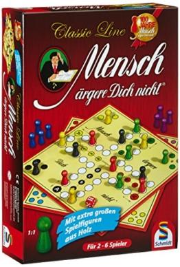 Schmidt Spiele 49085 Classic Line, Mensch ärgere Dich Nicht, mit extra großen Spielfiguren aus Holz, bunt - 1