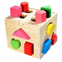 Steckwürfel aus Holz Spielzeug-Würfel-Puzzle Steckbox für Baby & Kleinkind; Holzspielzeug trainiert Motorik, Lernspielzeug zur Förderung von Formerkennung und Konzentration - 1
