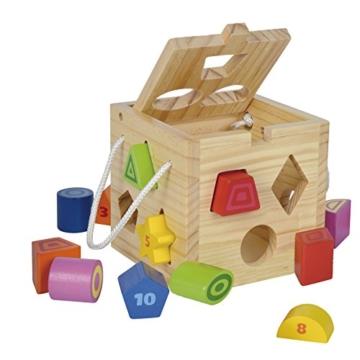Eichhorn Steckwürfel aus Holz, Kiefernholz, Motorikwürfel mit 12 Steckbausteinen, Holzspielzeug für Kinder ab 12 Monaten,  Größe: 14,5x14,5x14,5 cm - 2