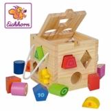 Eichhorn Steckwürfel aus Holz, Kiefernholz, Motorikwürfel mit 12 Steckbausteinen, Holzspielzeug für Kinder ab 12 Monaten,  Größe: 14,5x14,5x14,5 cm - 1