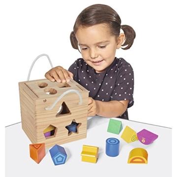 Eichhorn Steckwürfel aus Holz, Kiefernholz, Motorikwürfel mit 12 Steckbausteinen, Holzspielzeug für Kinder ab 12 Monaten,  Größe: 14,5x14,5x14,5 cm - 3