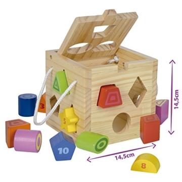 Eichhorn Steckwürfel aus Holz, Kiefernholz, Motorikwürfel mit 12 Steckbausteinen, Holzspielzeug für Kinder ab 12 Monaten,  Größe: 14,5x14,5x14,5 cm - 4