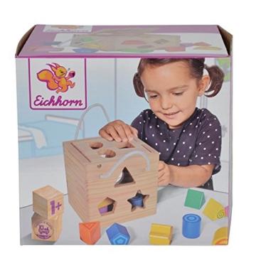 Eichhorn Steckwürfel aus Holz, Kiefernholz, Motorikwürfel mit 12 Steckbausteinen, Holzspielzeug für Kinder ab 12 Monaten,  Größe: 14,5x14,5x14,5 cm - 5