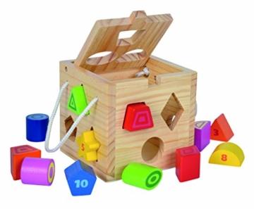 Eichhorn Steckwürfel aus Holz, Kiefernholz, Motorikwürfel mit 12 Steckbausteinen, Holzspielzeug für Kinder ab 12 Monaten,  Größe: 14,5x14,5x14,5 cm - 6