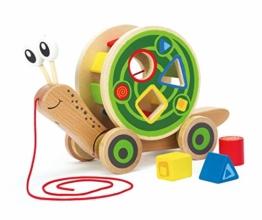 Hape E0349 - Nachzieh-Schnecke, Nachziehspielzeug, inkl. Farb- und Formensortierer, aus Holz, ab 12 Monate - 1