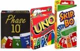 Mattel Spar-Set 169882 3-er Set Kartenspiele: UNO, Skip BO und Phase 10 - 1