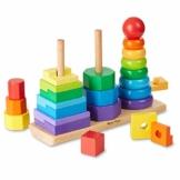 Melissa & Doug Geometrischer Stapler aus Holz, Mehrfarbig, (25 Teile) - 1